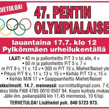 47. Pentin olympialaiset la 17.7.2021 klo 12.00